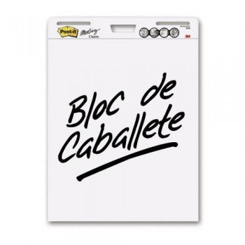 BLOC REUNIONES DE CABALLETE LISO BLANCO 30 HOJAS LISAS POST-IT