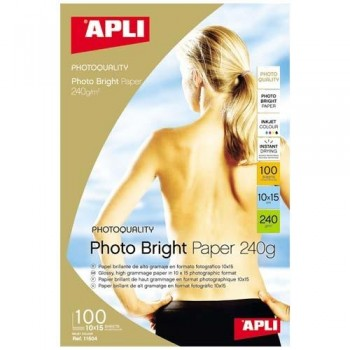 PAPEL FOTO 10X15 240 GR. 100 HOJAS BRILLANTE PRO PARA INKJET PHOTO BRIGHT APLI