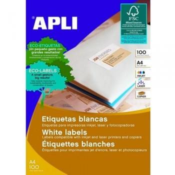 Etiquetas adhesivas multifunción A4 105 x 40 mm. 100 hojas cantos rectos Apli
