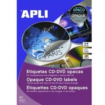 ETIQUETA CD-DVD  ?114/?41 MM.DORSO OPACO 100 HOJAS A4 200 UNIDADES ADHESIVO PERMANENTE APLI