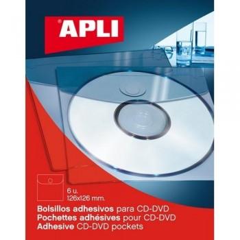 BOLSILLOS ADHESIVOS 126X126 MM. CD/DVD BLISTER 6 UNIDADES APLI