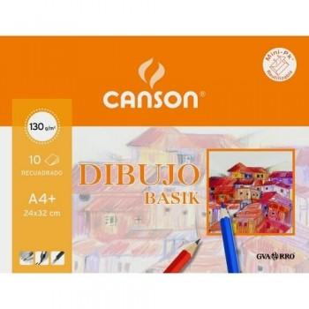 Papel dibujo A4+ 130 gramos con recuadro 10 hojas Minipac Basik Canson