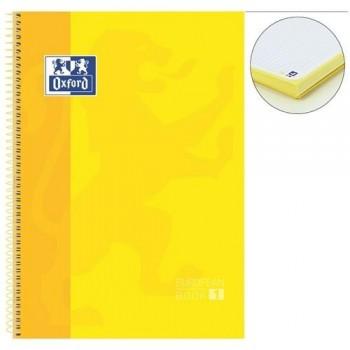 Cuaderno espiral A4+ 80 hojas 90 gramos 4 taladros cuadrícula 5x5 amarillo European 1 Oxford