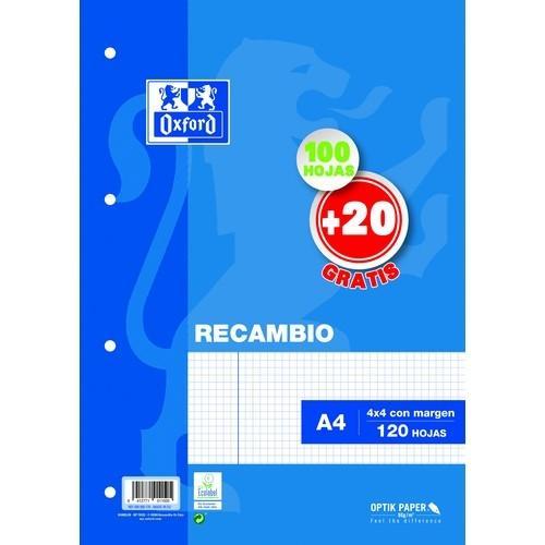 Papel A4 90gramos 100+20 hojas cuadrícula 4x4 con margen 4 taladros Oxford