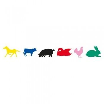 Gomets siluetas adhesivo permanente de colores surtidos Animales granja Apli