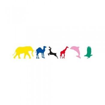 Gomets siluetas adhesivo permanente de colores surtidos Animales salvajes Apli