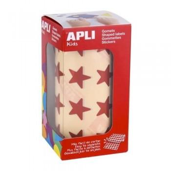 Gomets metalizado adhesivo permanente estrella grande Rojo Apli