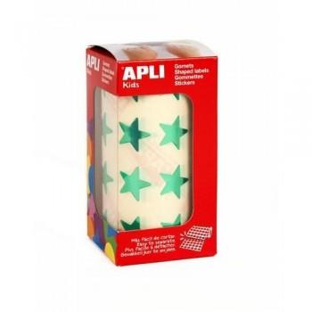 Gomets metalizado adhesivo permanente estrella grande Verde Apli