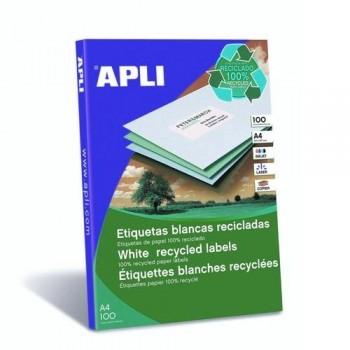 ETIQUETAS ADHESIVAS MULTIFUNCIÓN RECICLADAS A4 210 X 297 MM. 100 HOJAS APLI
