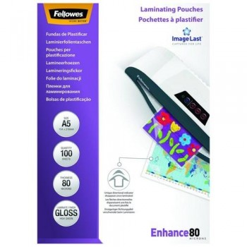 FUNDA PLASTIFICAR A5 80 MICRAS BRILLO 100 UNID. FELLOWES