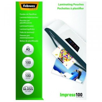 FUNDA PLASTIFICAR A5 100 MICRAS BRILLO 100 FELLOWES