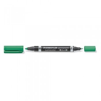 ROTULADOR PERMANENTE DOBLE PUNTA M Y F, COLOR VERDE STAEDTLER