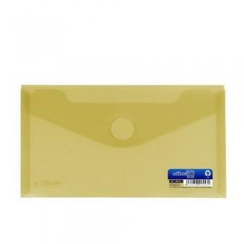 Sobre 225x125 mm PP cierre velcro amarillo.