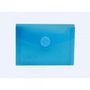 Sobre A7 PP 120x85mm cierre con velcro azul transparente.
