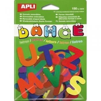 Gomets precortado adhesivo removible letras A-Z colores surtidos 150 un. Apli