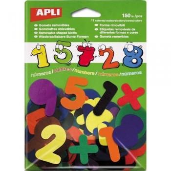 Gomets precortado adhesivo removible números 0-9 colores surtidos 150 un. Apli