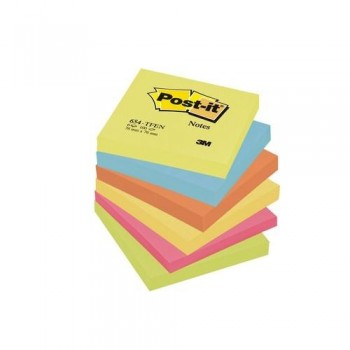 NOTAS ADHESIVAS 76X76MM. 654 GAMA ENERGÍA 6 BLOCS X 100 HOJAS POST-IT