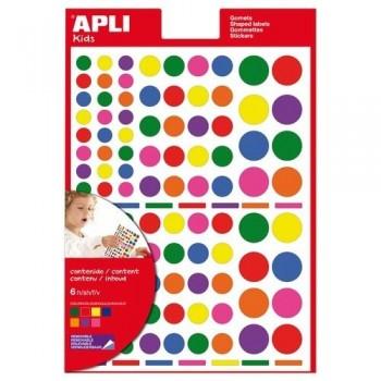 Gomets geométricos multicolor adhesivo removible cuadrados 6 hojas Apli