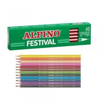 Lápiz color estuche 12 un. azul claro Alpino Festival