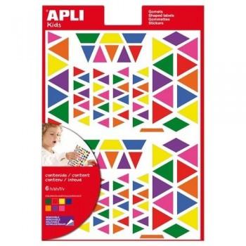 Gomets geométricos multicolor adhesivo removible triángulos surtido 6 hojas Apli