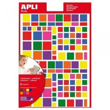 Gomets geométricos multicolor adhesivo removible figuras surtidas 6 hojas Apli