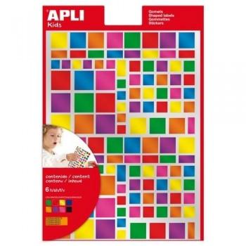 Gomets geométricos multicolor metalizados adhesivo permanente cuadrados 6 hojas Apli