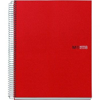 CUADERNO ESPIRAL A4 200 HOJAS 70GR. CUADRÍCULA 5X5 MICROPERFORADAS TAPA PP ROJO 8 BANDAS COLOR NOTEBOOK 8 MR