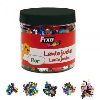 Lentejuelas bote 50 gr flor surtido colores con agujero Fixo Kids
