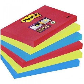 NOTAS ADHESIVAS SUPER STICKY 76X127MM. COLORES BORA BORA PACK DE 6 BLOCS POST-IT