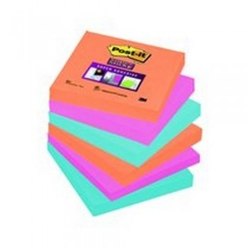 NOTAS ADHESIVAS SUPER STICKY 76X76MM COLORES BANGKOK PACK DE  6 BLOCS POST-IT