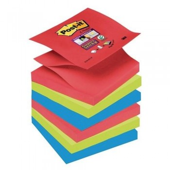 NOTAS ADHESIVAS Z-NOTAS SUPER STICKY 76X76 MM. PACK DE 6  BLOCS COLORES BORA BORA 90 HOJAS/BLOC POST-IT