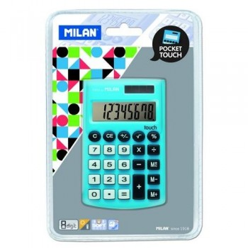 CALCULADORA BOLSILLO 8 DÍGITOS AZUL BLISTER 150908 POCKET TOUCH MILAN