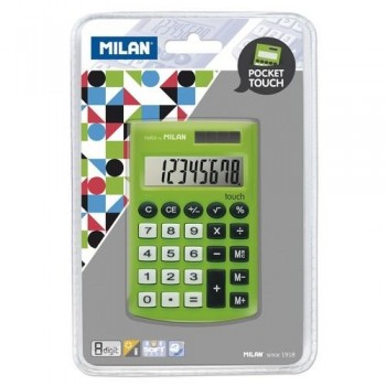 CALCULADORA BOLSILLO 8 DÍGITOS VERDE BLISTER 150908 POCKET TOUCH MILAN