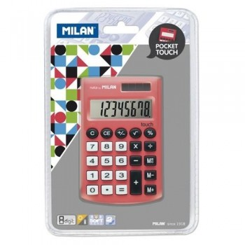 CALCULADORA BOLSILLO 8 DÍGITOS ROJA BLISTER 150908 POCKET TOUCH MILAN