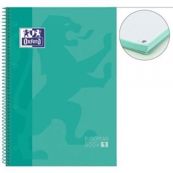 Cuaderno espiral A4+ 80 hojas 90 gramos 4 taladros cuadrícula 5x5 ice mint European 1 Oxford