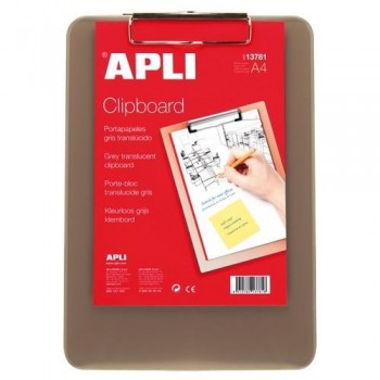 Tabla plástico gris translúcido con pinza A4 Apli