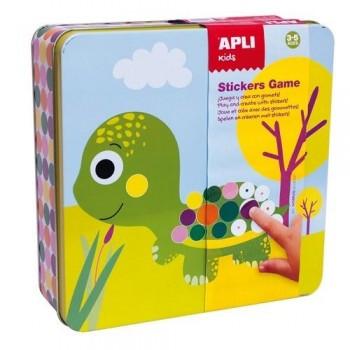 Juego gomets geométricos Animales en caja metálica Apli