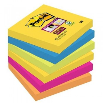 NOTAS ADHESIVAS SUPER STICKY 76X76 MM 6 BLOCS X 90HOJAS RÍO DE JANEIRO POST-IT