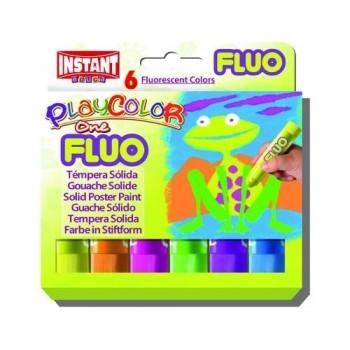Témpera barra 10 gr estuche 6 unid. Surtido Fluo PlayColor One