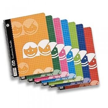 Cuaderno cuarto 40 hojas 70 gr Tapa cartón cuadrícula 3 mm Lamela Basic