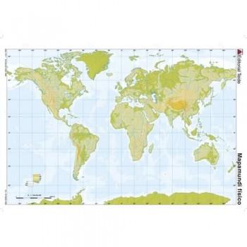 Mapa mudo color A4 físico PLANISFERIO