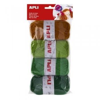 Ovillos lana 50gr. 4 un. tonos verde APLI
