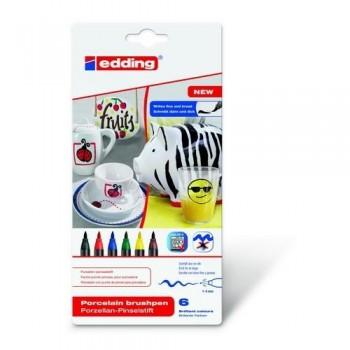 Rotulador porcelana punta pincel 1-4mm. 6 Colores básicos surtidos Edding 4200