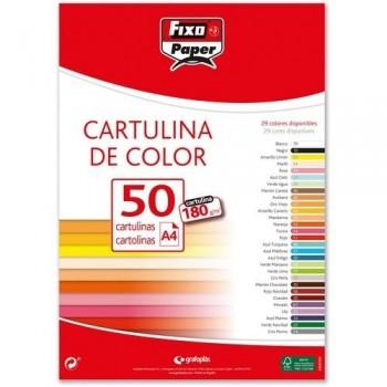 Cartulina A4 180gr. MARRÓN CANELA paq. 50 hojas Fixo