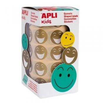 Gomets redondos adhesivo removible cara feliz Smile dorado Apli