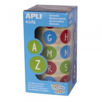 Gomets redondos adhesivo removible 20mm ABC Abecedario mayúsculas en rollo Apli