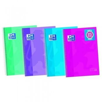 Cuaderno espiral A4+ 120 hojas 90 gramos (50% hojas gratis) tapa extradura colores tendencia cuadrícula 5x5 European 5 Oxford